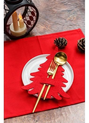Arma House 6 Adet Çam Ağacı Kaşıklık & Servis Sunum Kırmızı